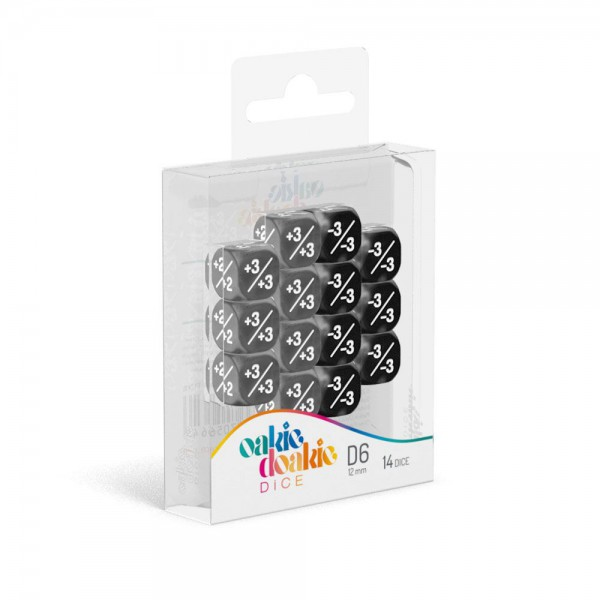 W6 Würfel 12 mm Marble/Gemidice Positive & Negative - Schwarz