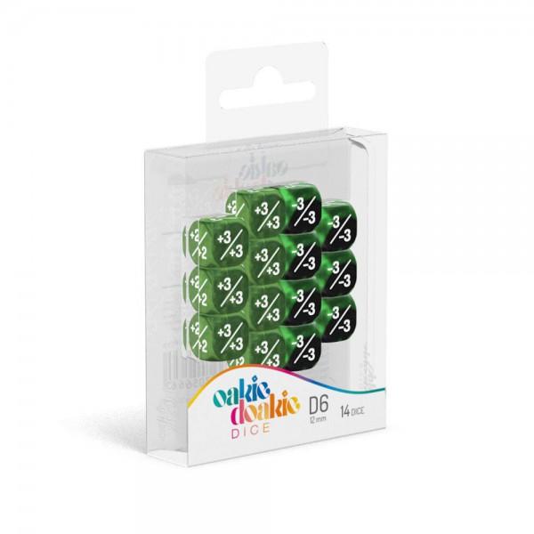 W6 Würfel 12 mm Marble/Gemidice Positive & Negative - Grün