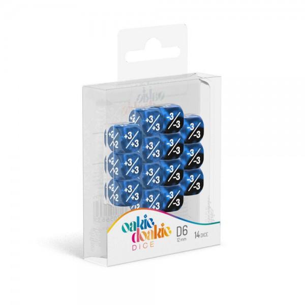 W6 Würfel 12 mm Marble/Gemidice Positive & Negative - Blau